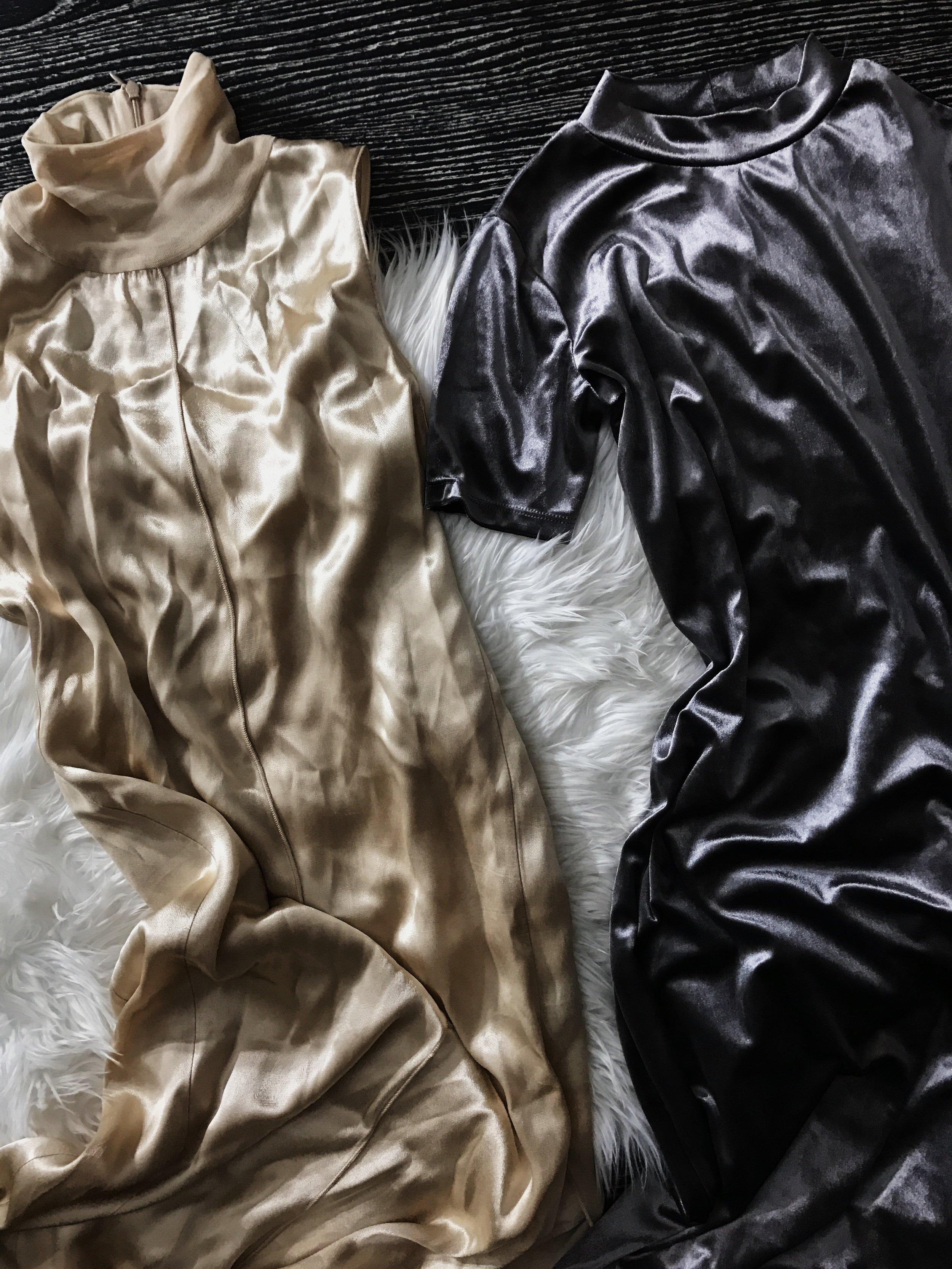 ZARA   Silky Maxi Dress; $9.99  Velvet Midi Dress; $15.99