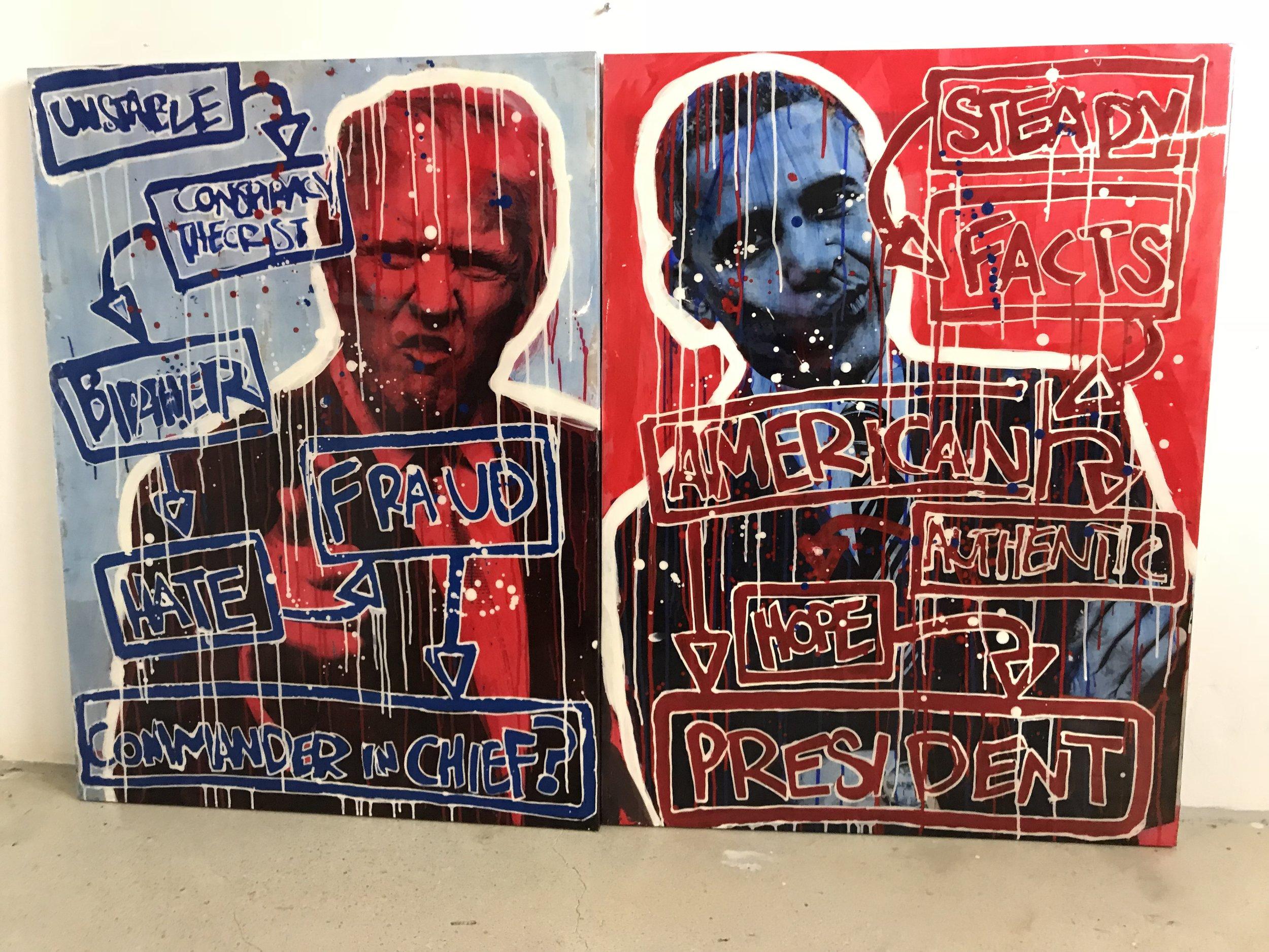 Right v. Left | President Obama & Trump | $8,300 | 2 Piece Set | 30 x 40 + 30 x 40