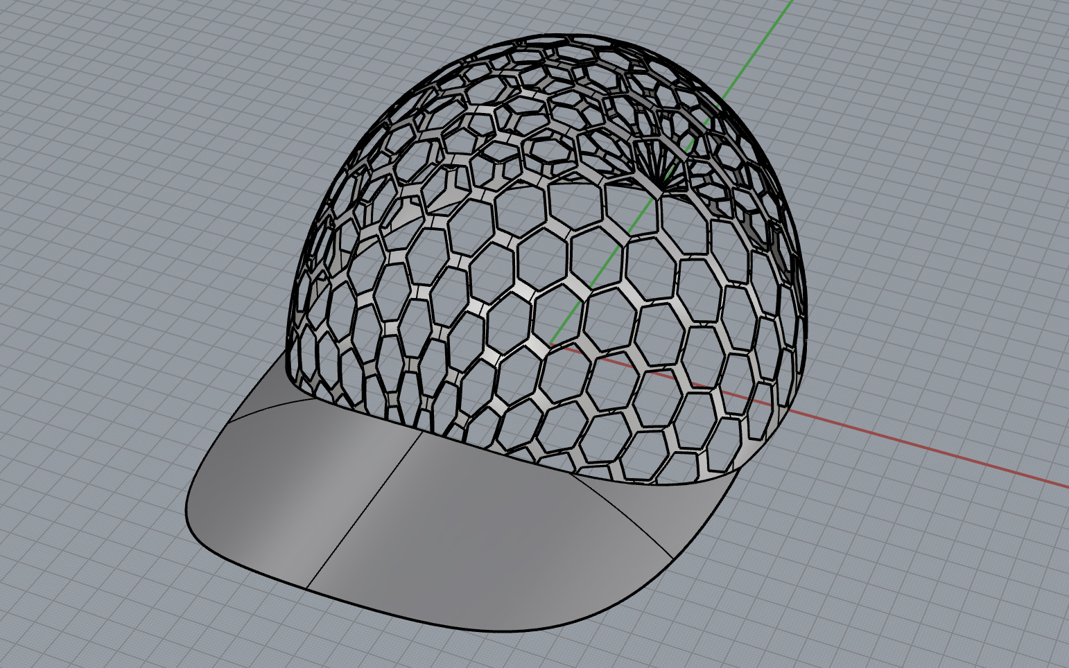 3D Printed Bee-hive Inspired Baseball Cap:  created in two separate parts (Bowl and Brim); designed to fit my unusually large head (Rhino).