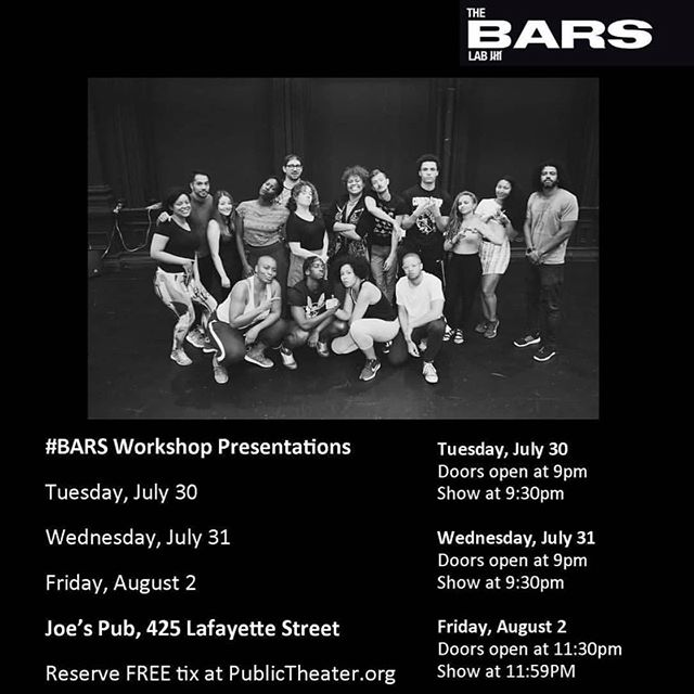 Y'all have been asking for details about #BARS so here they are! The July 30th performance is invite only so if you want an in slide into my DM's for a special code. If not head on over to @publictheaterny 's website to reserve your tickets. This is gonna sell out fast y'all so get 'em while you still can!