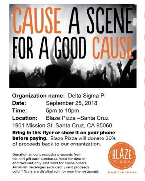 Come out to our fundraiser today! Make sure to show this flyer to the cashier! 🍕😊