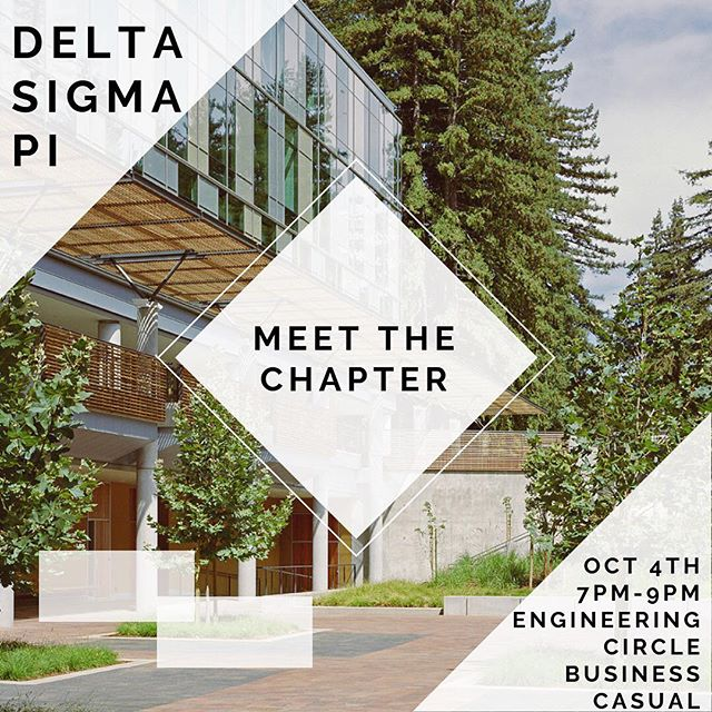 Hi everyone! Meet the Chapter is tomorrow! Come and meet the brothers of Delta Sigma Pi!