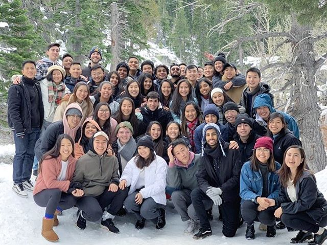 A picture of Pi Chi Chapter at our annual trip to Lake Tahoe (taken moments after an epic snowball fight) #brotherhood #ptbad