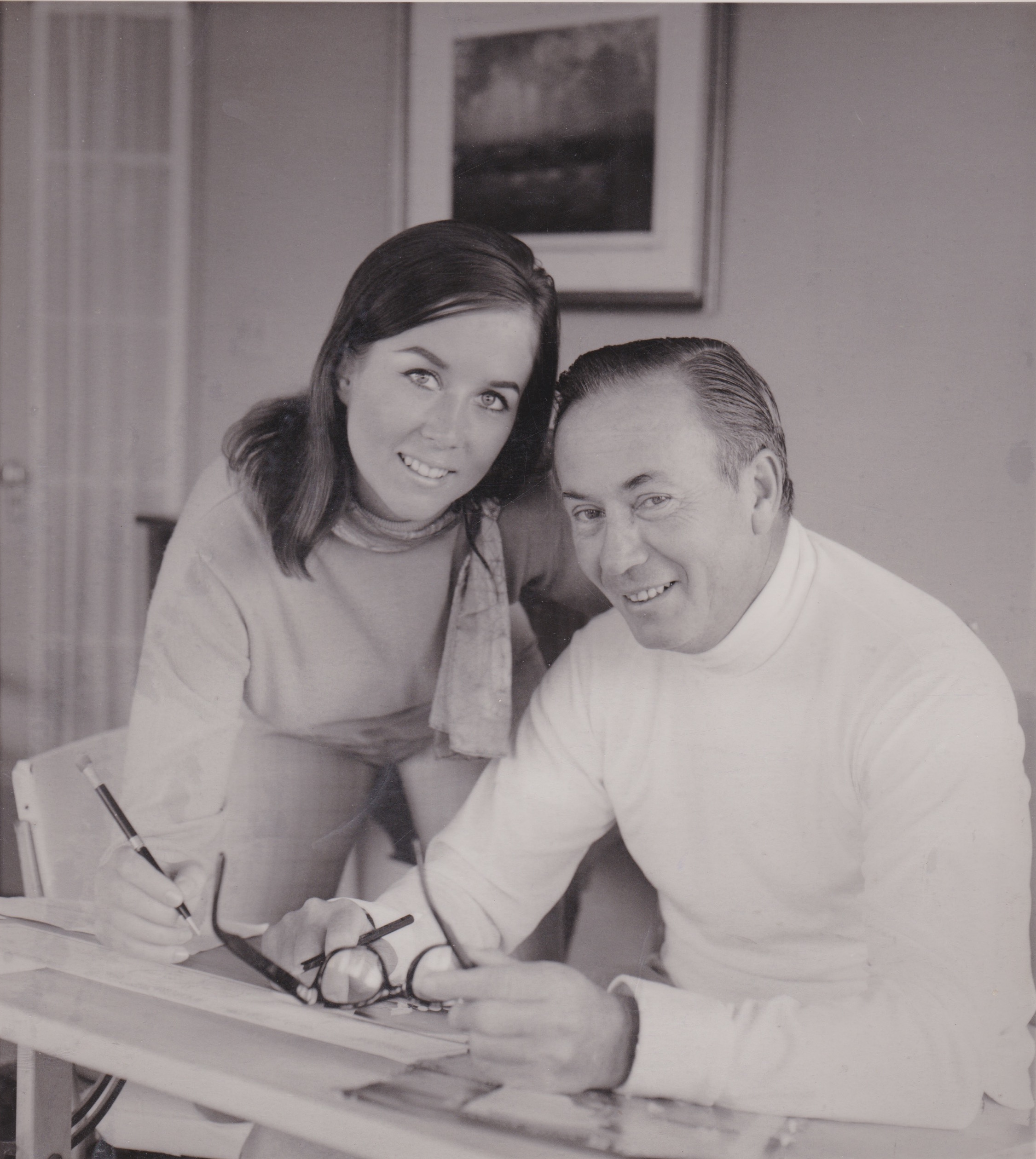 Virginia and father Dick Brooks working on The Jackson Twins Comic Strip