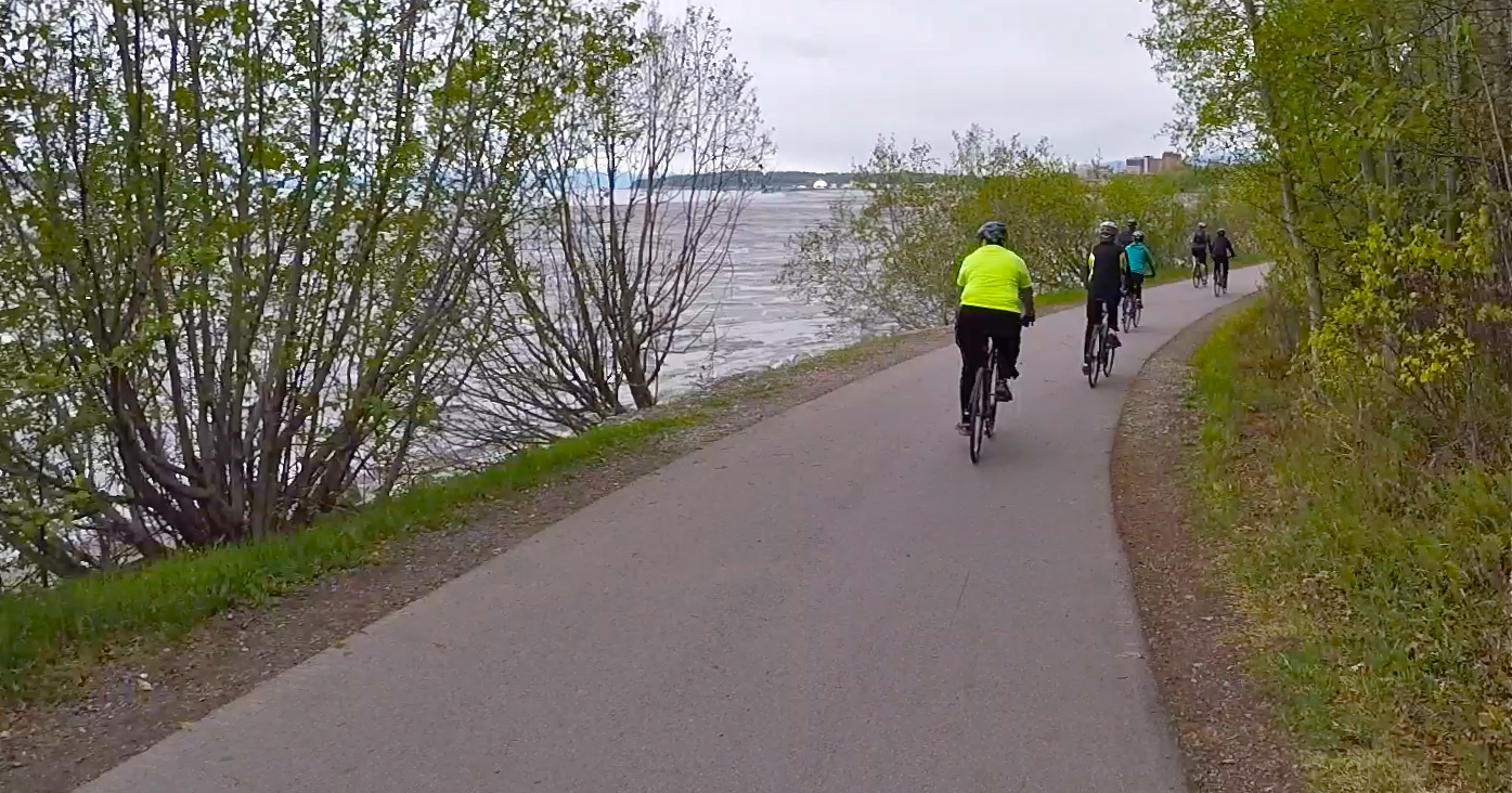 Biking Tony Knowles Coastal Trail with views