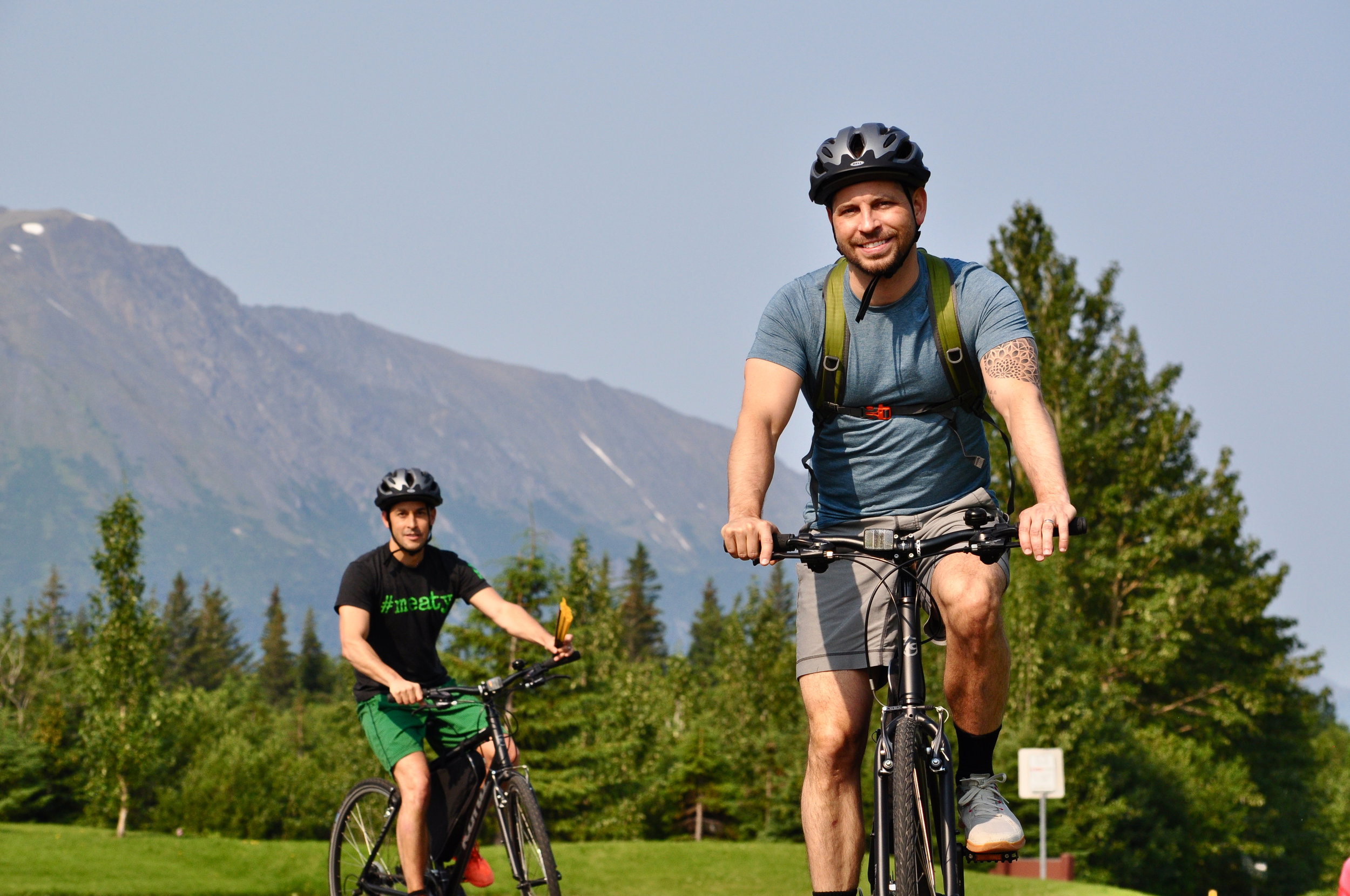 Happy guys on bike tour Turnagain Arm