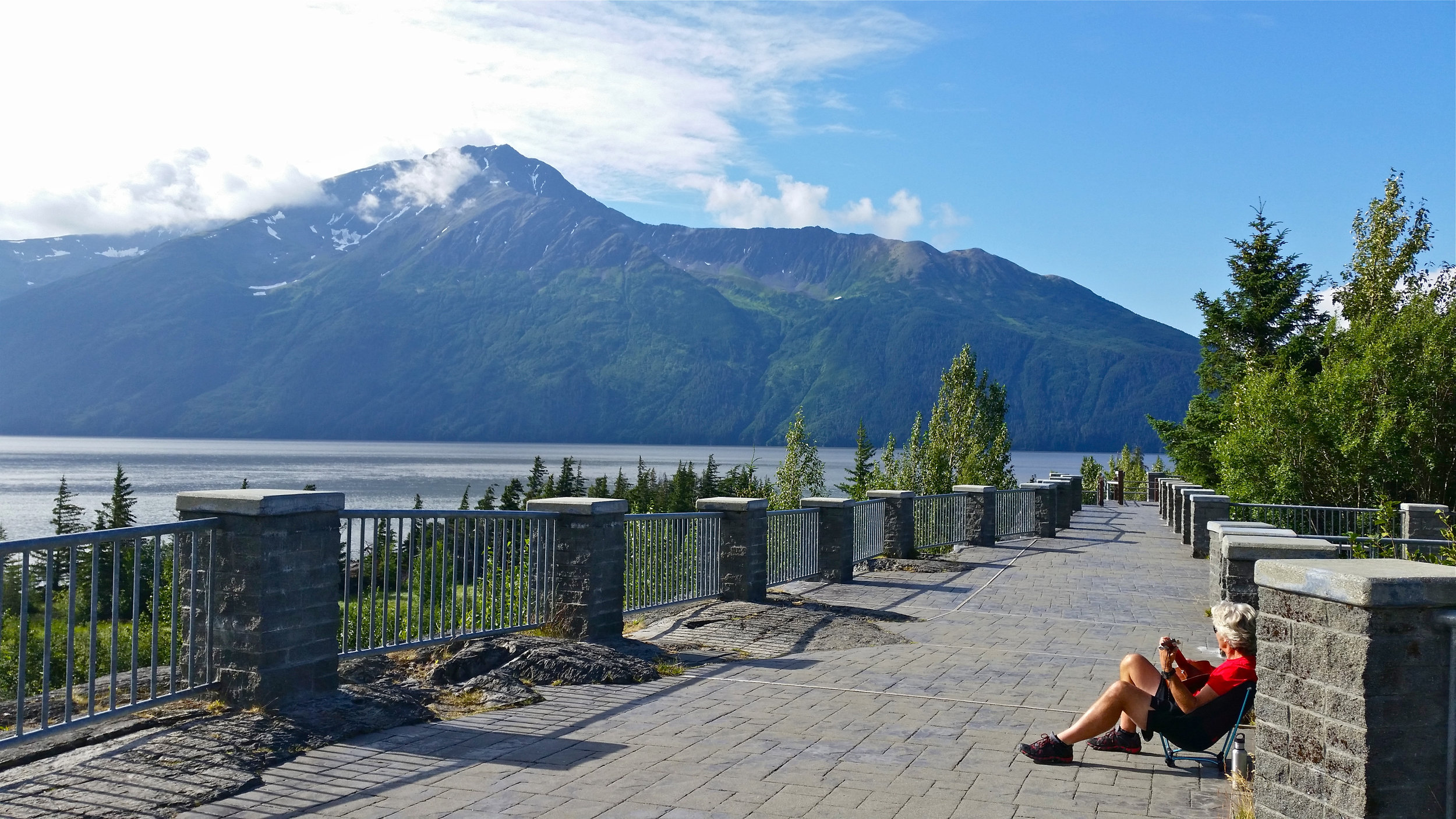 Scott at Bird Point on Turnagain Arm with mountain views