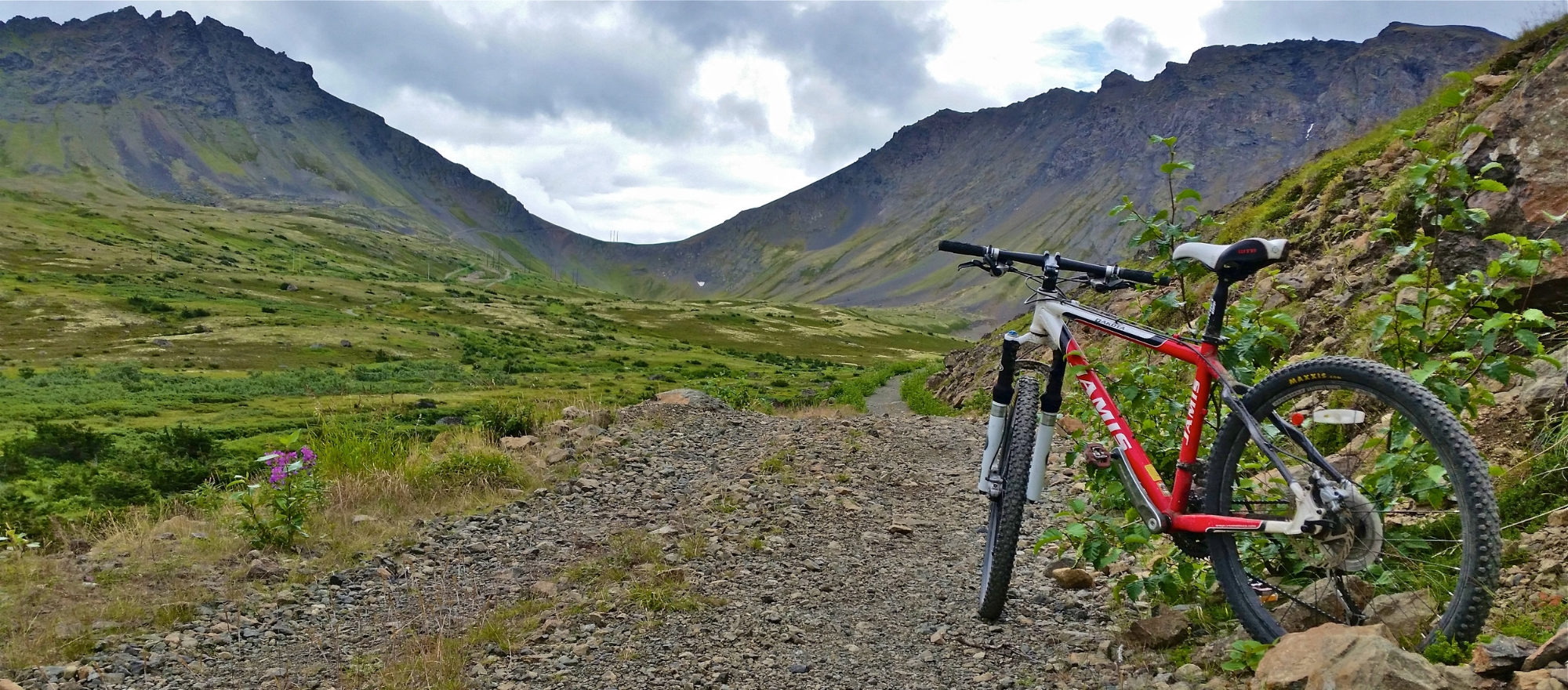 mountain biking on powerline pass in chugach state park
