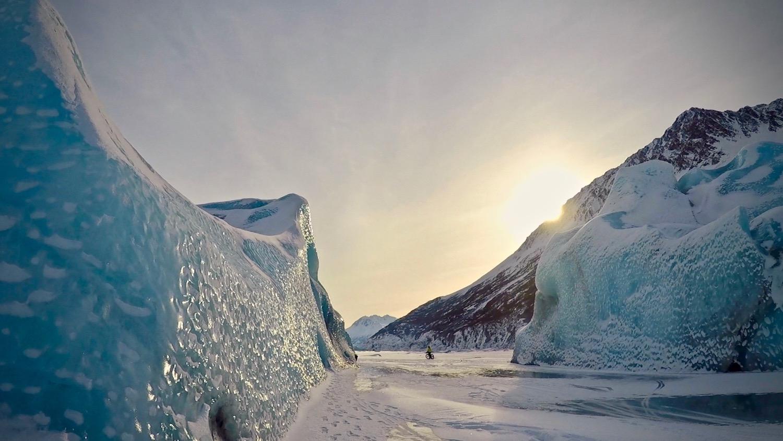 Knik Glacier and iceberg views in winter
