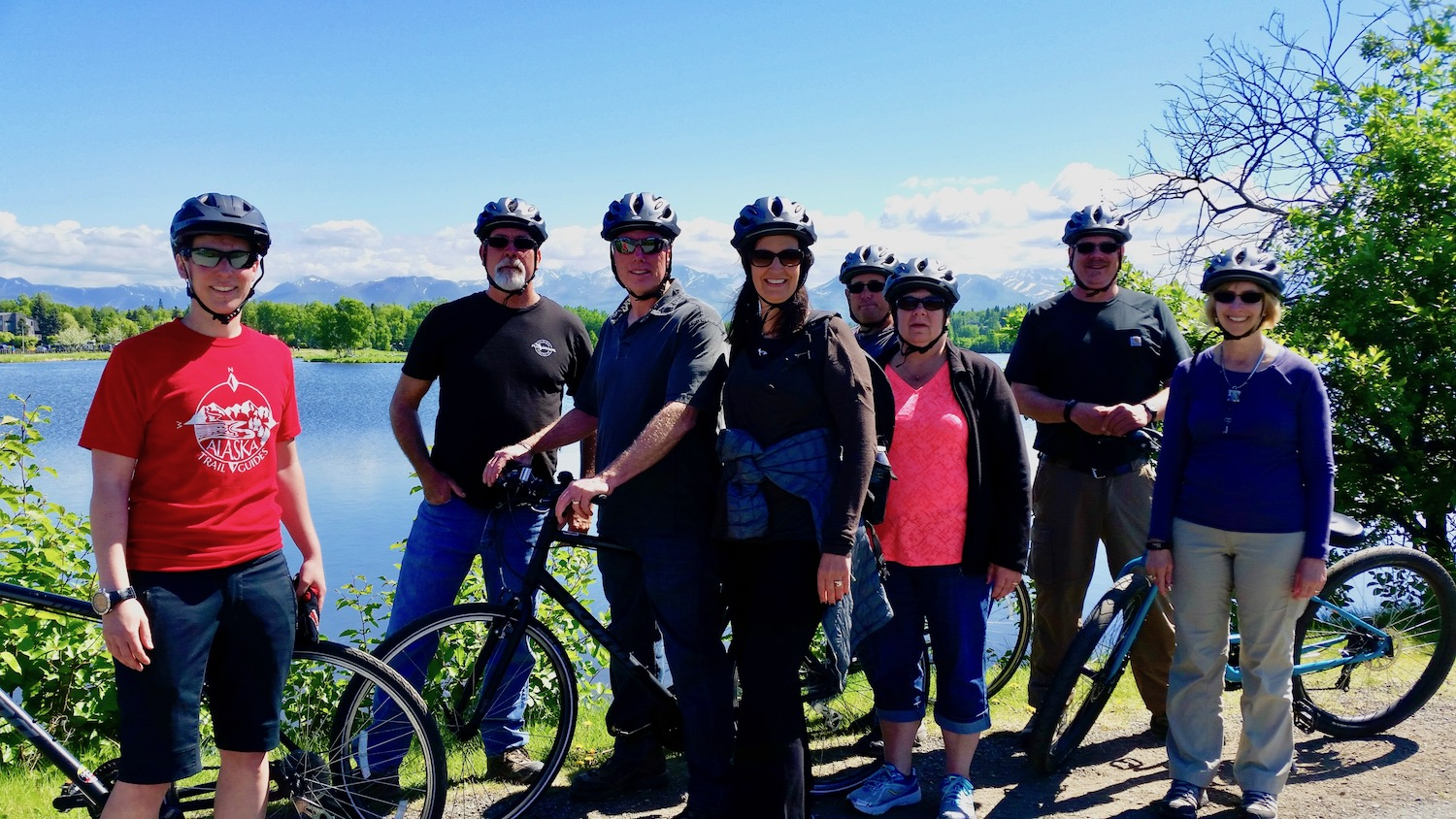 Family group at Westchester Lagoon on Tony Knowles Coastal Trail bike tour
