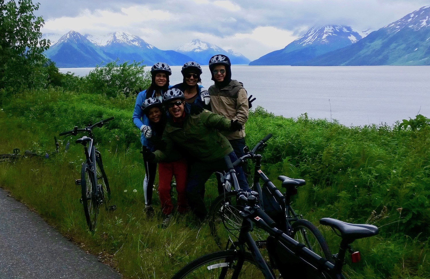 Family on bike tour Anchorage to Girdwood mountain view
