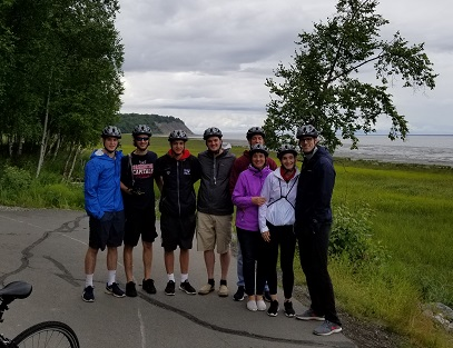 Group enjoys photo stop on Tony Knowles Coastal Trail