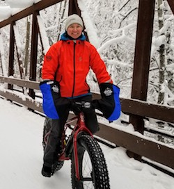 Frankie owner guide fat tire biking in winter at Campbell Creek