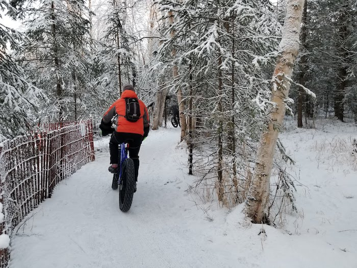 Fat tire bikers ride in Anchorage
