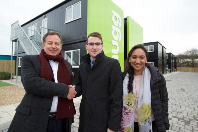 Stephen Wicks of Hugg Homes with city council leader Chris Hammond and housing chief Satvir Kaur