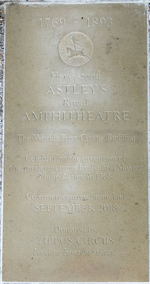 Astley's Amphitheatre commemorative flagstone at St Thomas's Hospital Garden, Lambeth, London SE1 7EW (at the southern end of Westminster Bridge) PICTURE CREDIT: Cathy Cooper Photography