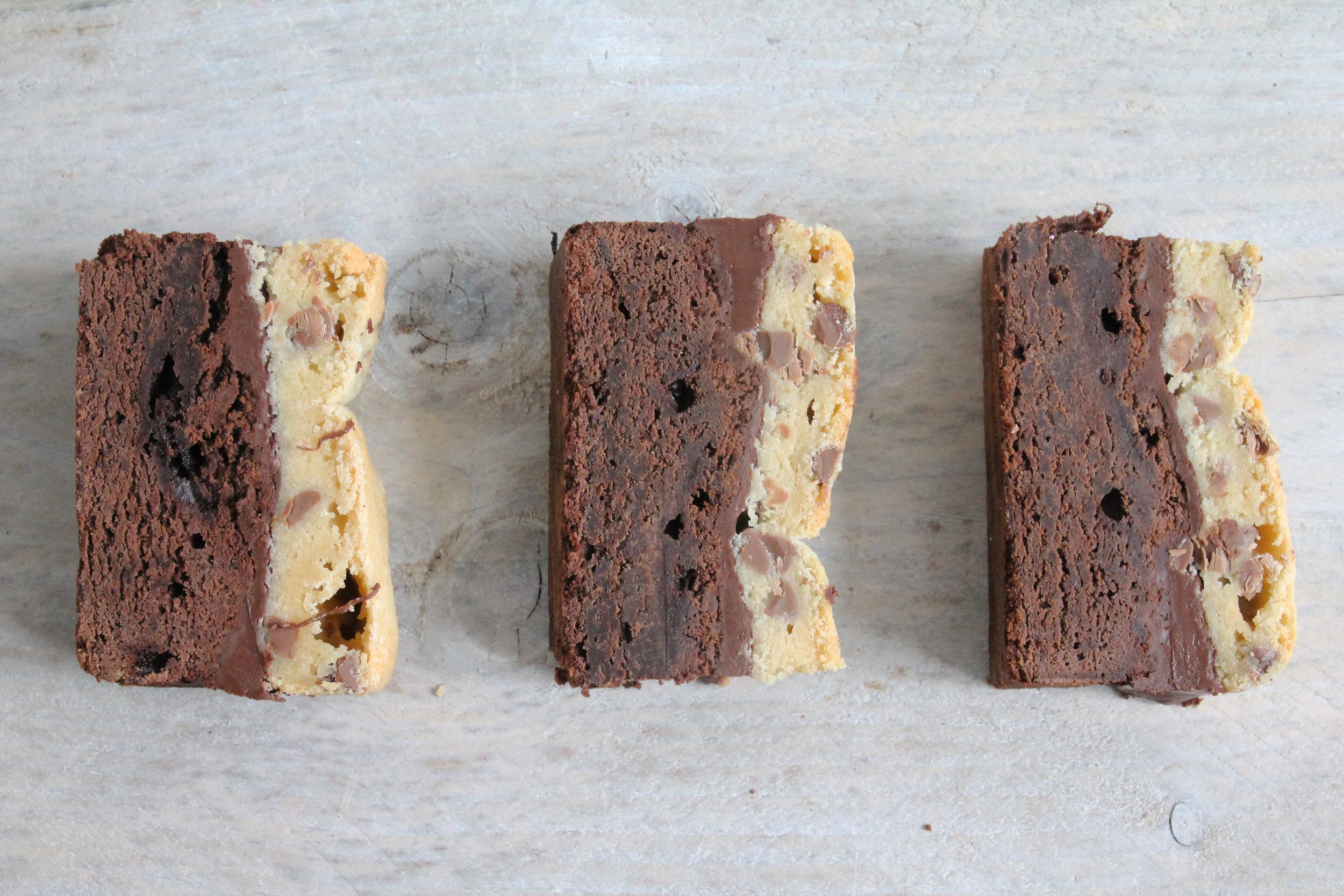 cookie cobbler, brownie and cookie