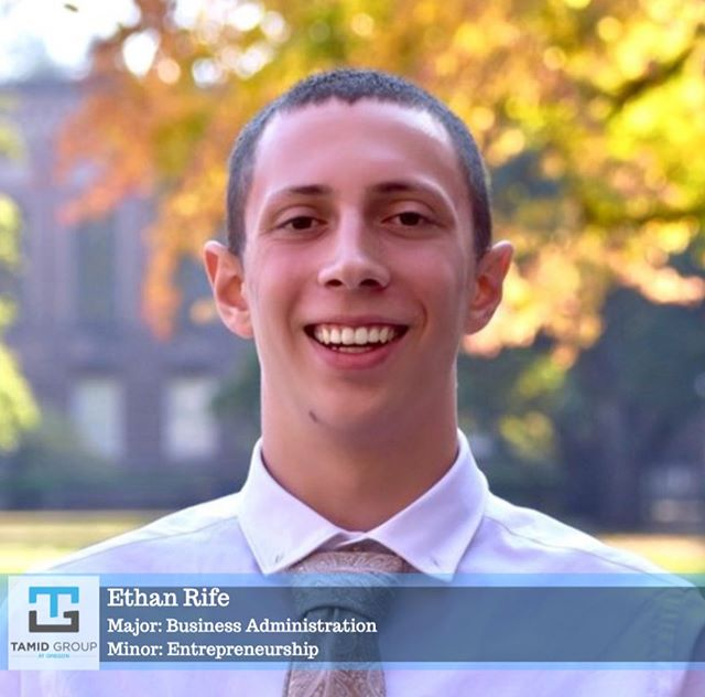 """Ethan Rife is a freshman that joined TAMID fall term 2019. He loves business and wants """"to find the best way to immerse myself in a couple flavors of business."""" A fun fact about Ethan is that he has a black lab named Skippy!"""
