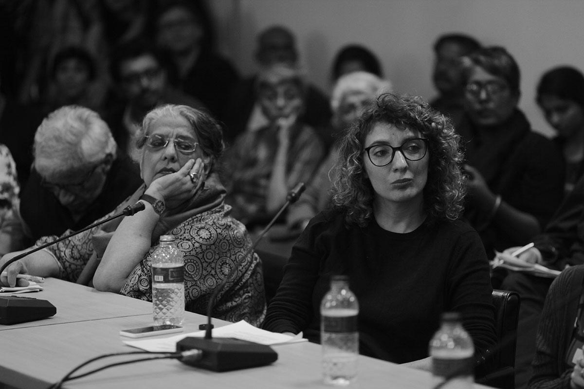 Geeta Kapur and Quinn Latimer. Photo courtesy of the Dhaka Art Summit and Samdani Art Foundation.Photo credit: Noor Photoface