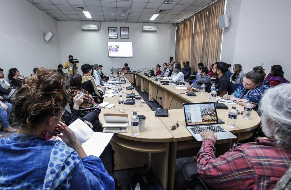 Kabita Chakma discussing Indigenous film in Bangladesh