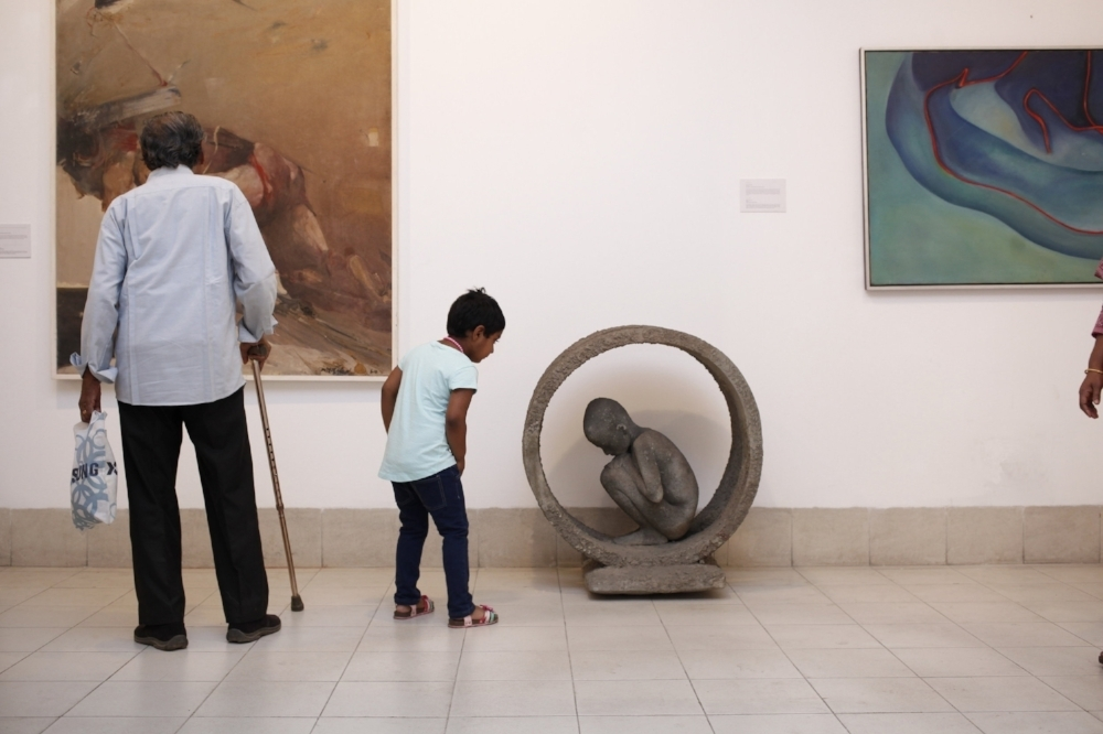 From left: Installation view of the works Frist Step (1986) by Shahabuddin Ahmed, Life Circle (1985) by Sultanul Islam and Soul Seeker-2(1985) by Syed Jahangir