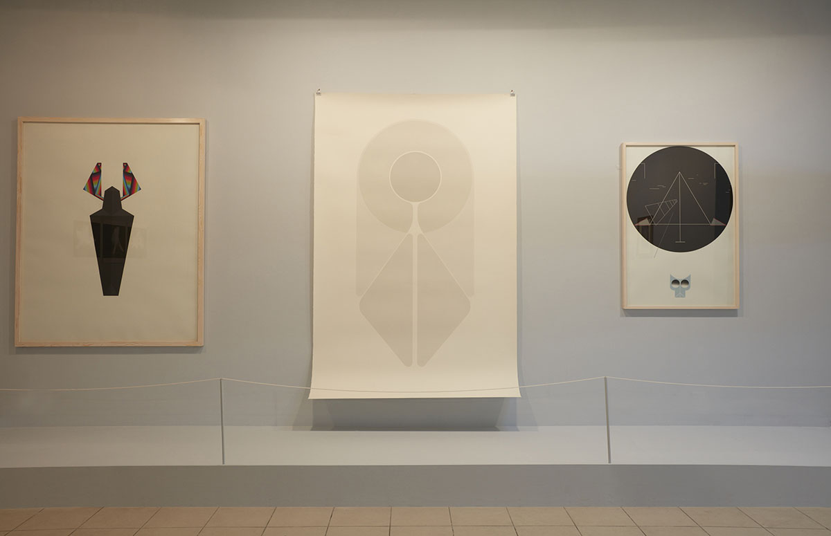 Installation view. Left to right: Fahd Burki,  Believer,  2012. Courtesy of the artist and Grey Noise, Dubai /Fahd Burki,  Saint , 2012. Courtesy of the artist and Grey Noise, Dubai /Fahd Burki,  Night Walk , 2013. Courtesy of the artist and Grey Noise, Dubai. Photo courtesy of the Dhaka Art Summit and Samdani Art Foundation.Photo credit: Jenni Carter
