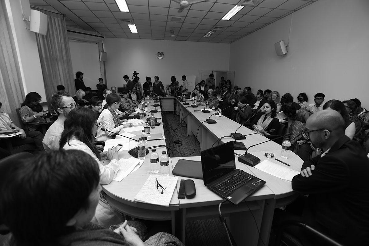 Critical Writing Ensemble, Nabil Ahmed Presentation. Photo courtesy of the Dhaka Art Summit and Samdani Art Foundation.Photo credit: Noor Photoface