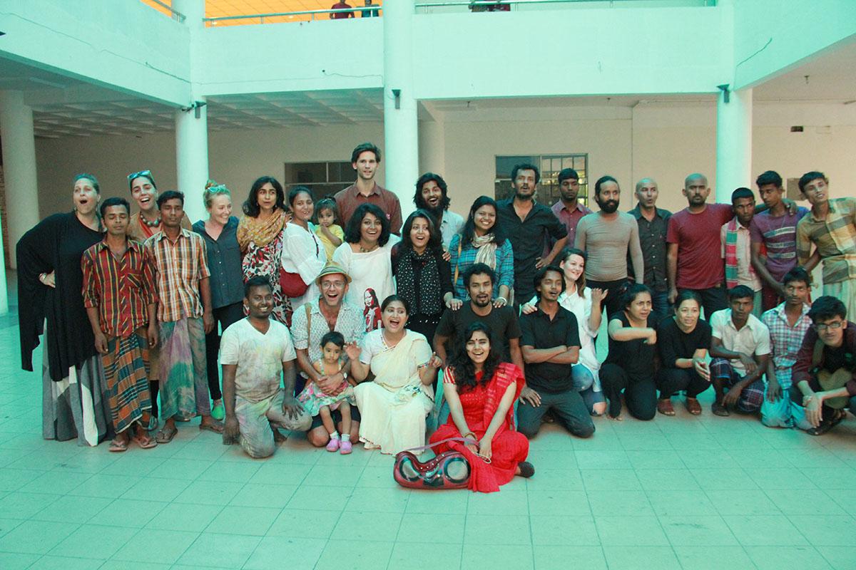 Performance workshop with Nikhil Chopra, Madhavi Gore and Jana Prepeluh, Samdani Seminars 2015. Courtesy of the Samdani Art Foundation. Photo credit: Nirmal Adhikari