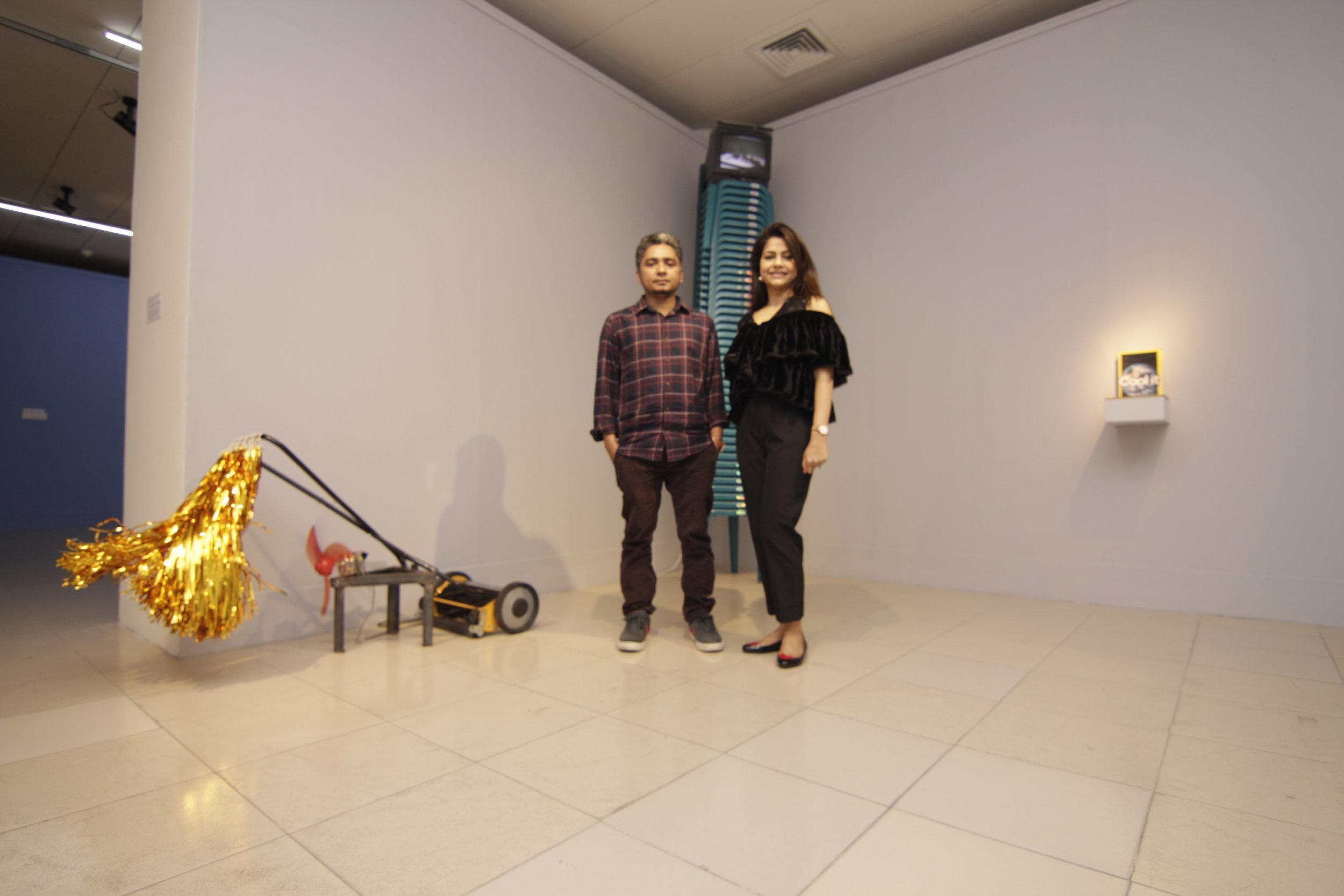 Mizanur Rahman Chowdhury and Nadia Samdani infront of The Soul Who Fails to Fly into the Space (2018)
