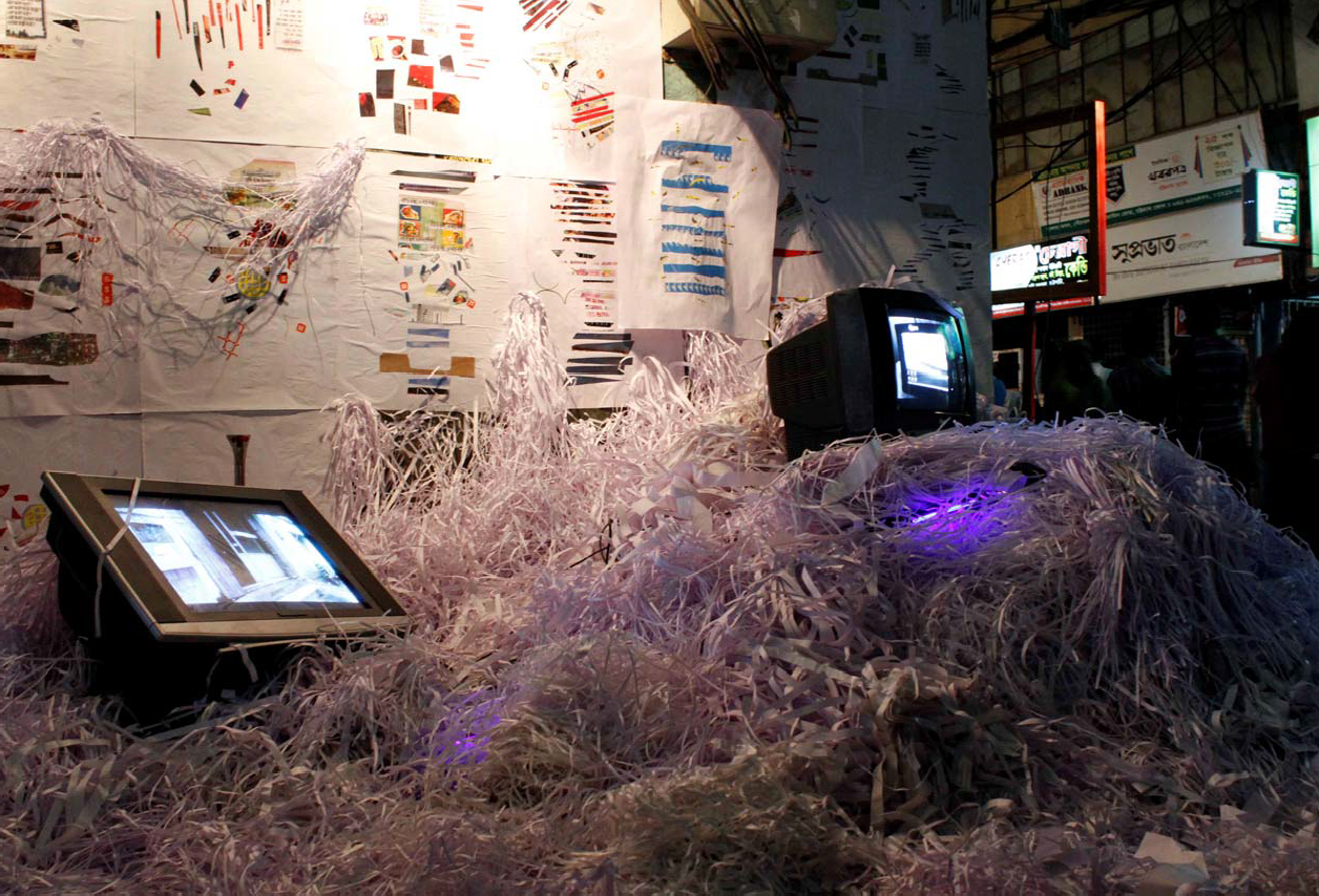 Wastage Abstract  (2013), site‐specific project, installation with dual channel video, Cheragi Art Show, Chittagong