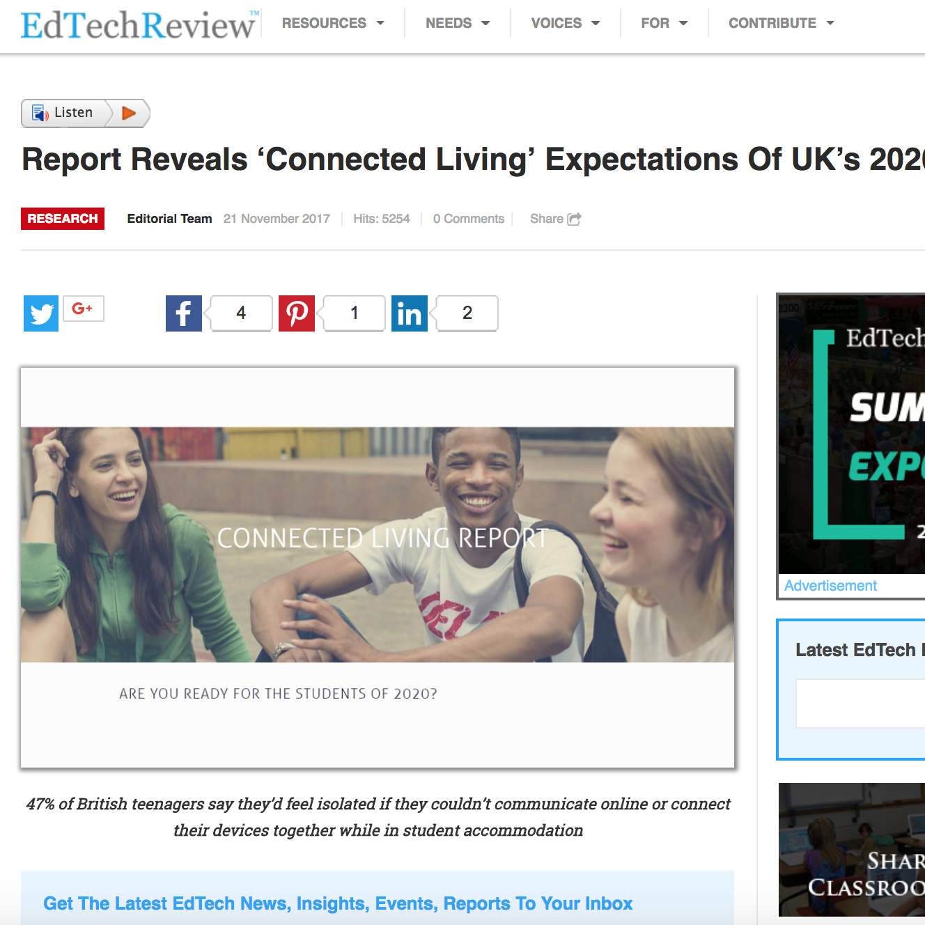 21 November 2017  EdTechReview: Report Reveals 'Connected Living' Expectations Of UK's 2020 Students   > go to story