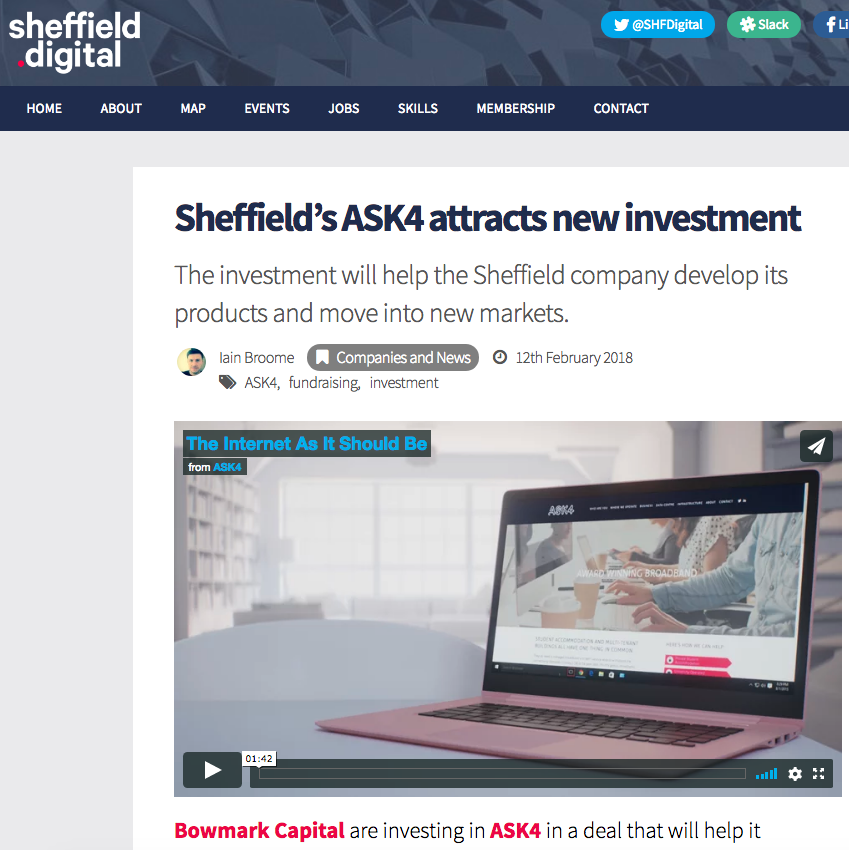 12th February 2018  Sheffield's ASK4 attracts new investment   > go to story