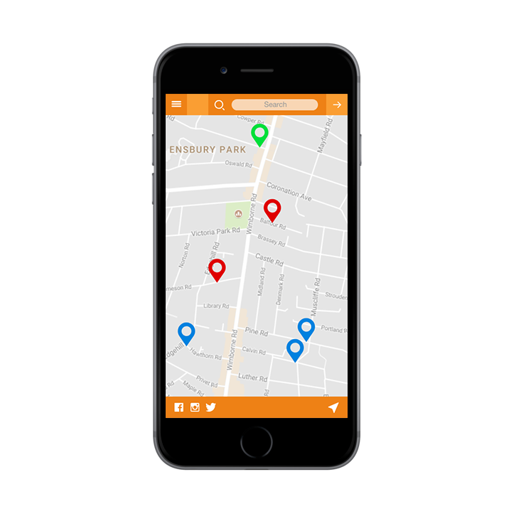 - Mapping showing information,events, support organisations and friends in your local area.
