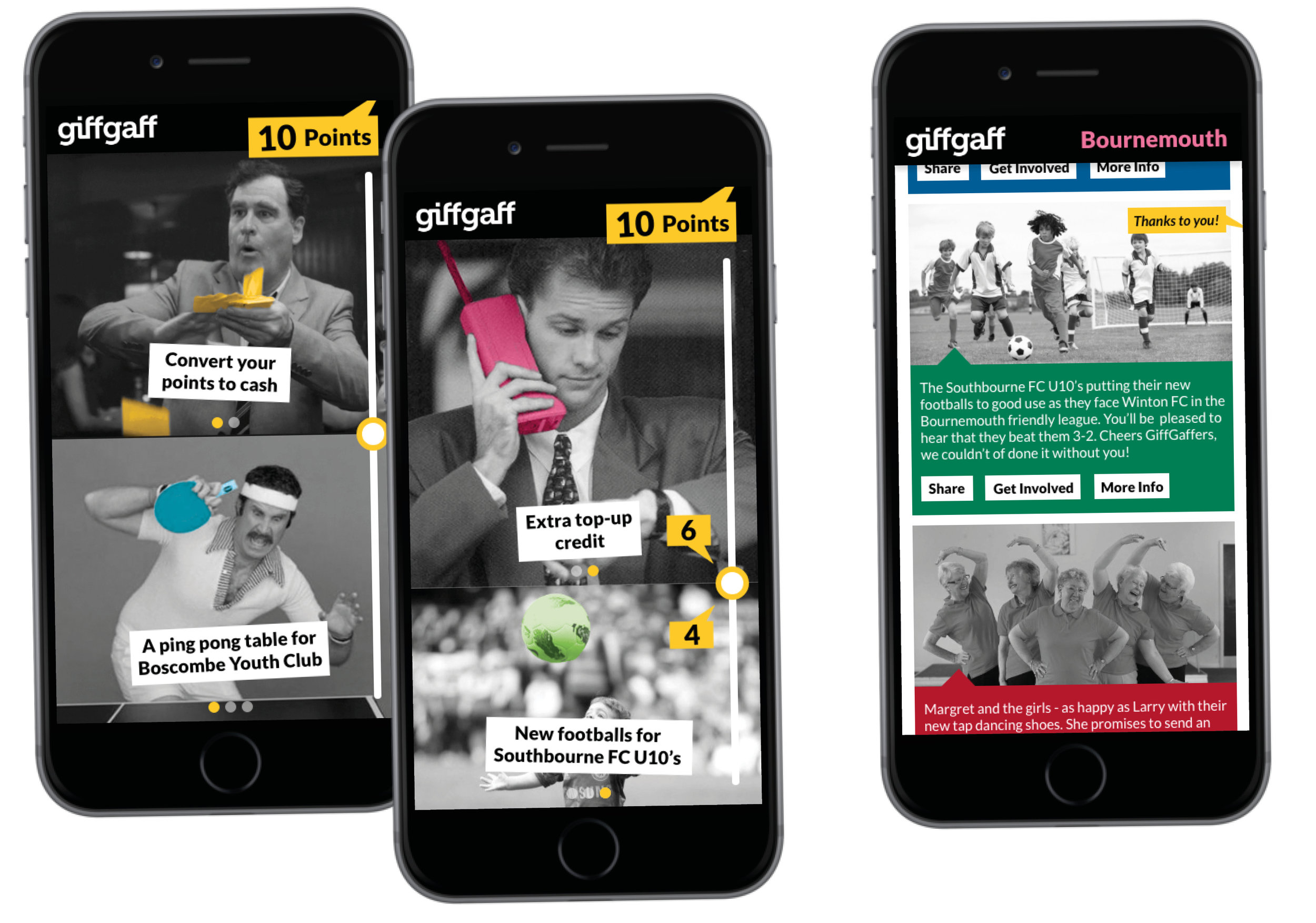 Giff Gaff: Give & Get - Giff Gaff: Give & Get is a reward scheme experience that encourages its users to actively participate within in their local community. Winner of a D&AD New Blood Award 2018.