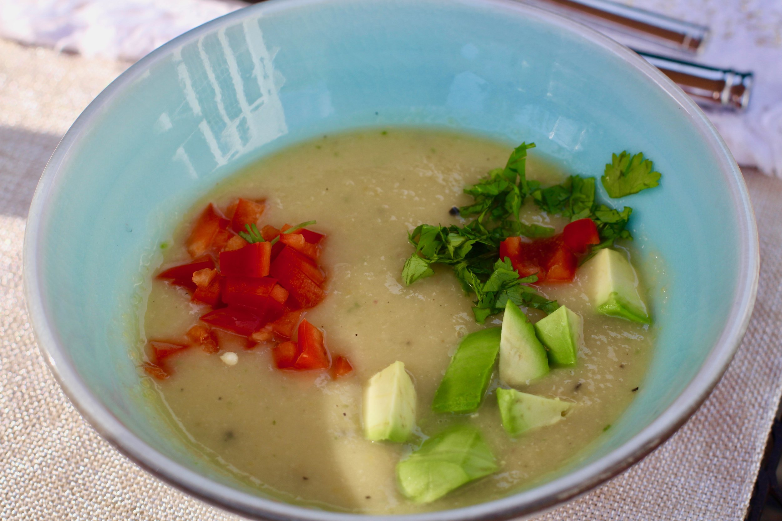 A very refreshing chilled soup that will encourage you to linger at the patio table on a warm summer day.