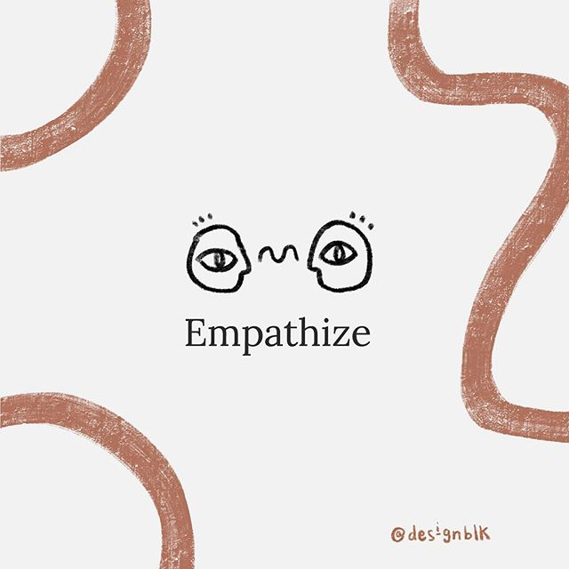 Empathize 〰️ Step 1 in the design thinking process.  often confused with sympathy - in design, empathy means understanding your audiences needs and behaviors through their subjective lens.  While sympathy implies pity, or an outside perspective, empathy means putting yourself fully into another's shoes, and seeing from their vantage point.  Here's the good news:  we're all hardwired to empathize with one another on a biological level.  It simply requires a desire to understand, and a willingness to cast aside our own assumptions. 💭  #designblk #designthinking