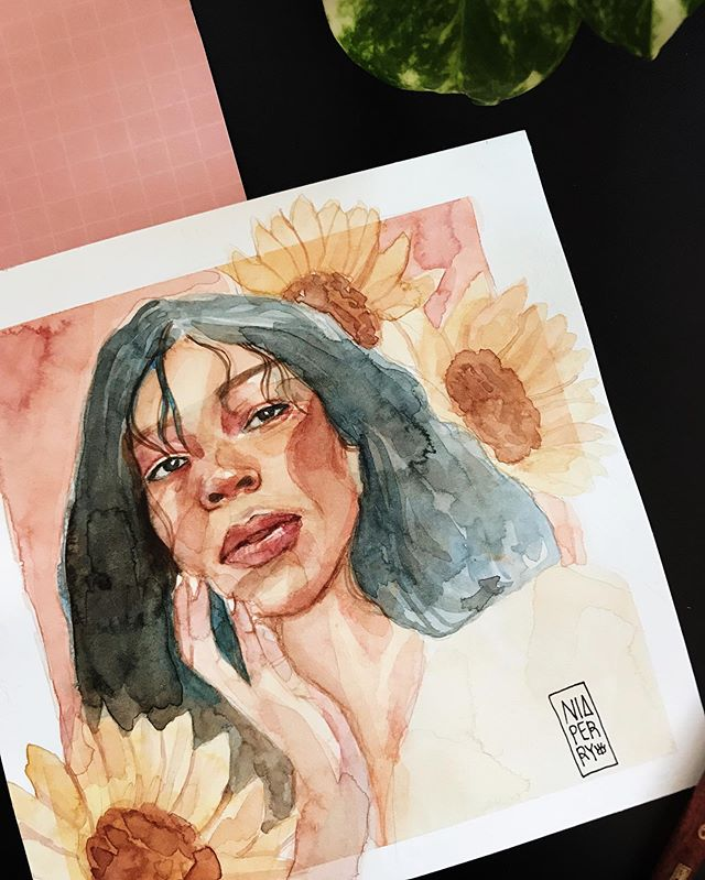 The beautiful @nylamexico 🌻🍃🌺 I've noticed the moment I invite perfectionism and expectation into my process, is also when I stop enjoying it. And for that reason, experimentation and play are absolutely necessary ☺️ 02/12 〰️ Painting my followers