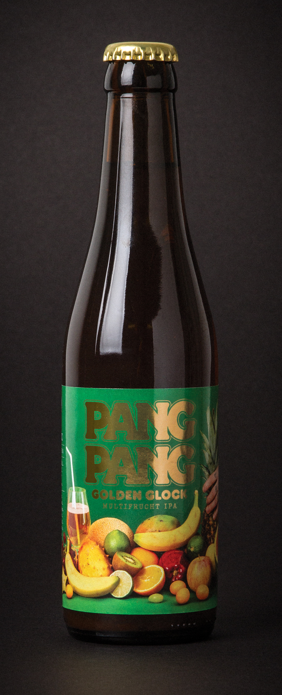 PangPang Golden Glock  Fruit IPA brewed with every fruit you can mention in 5 minutes. 4,5% · 33 centiliter