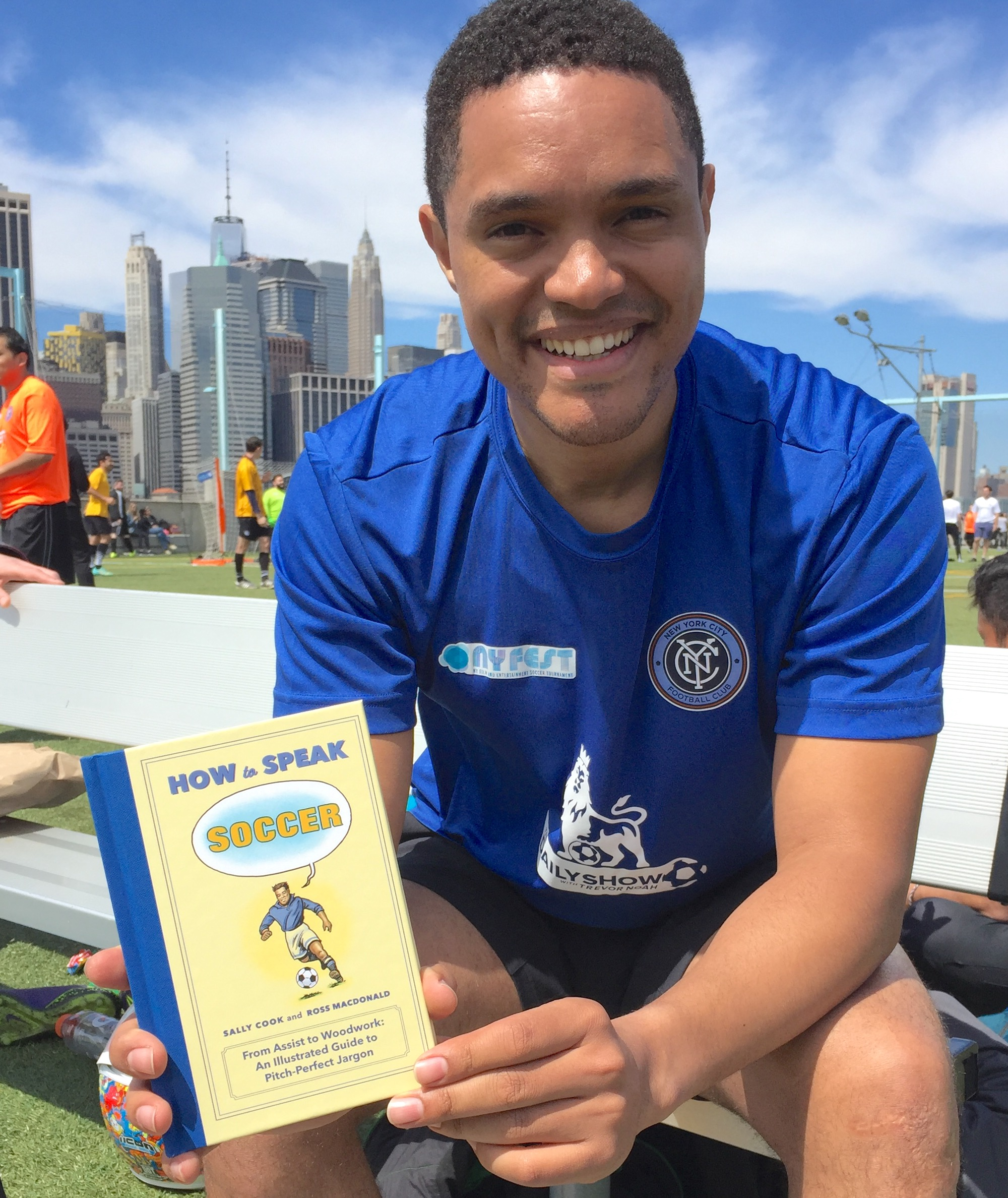 Trevor Noah at the 2017 New York Film and Entertainment Soccer Tournament in Brooklyn