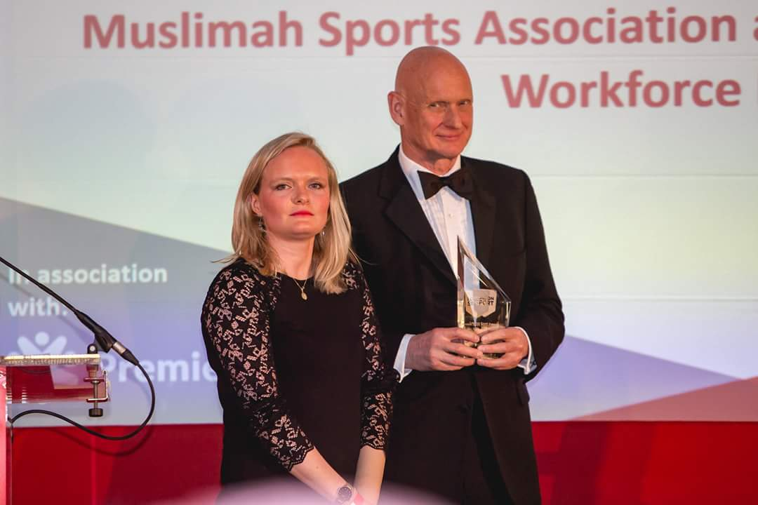 Photo from the London Sports Awards, presenting the Workforce Award on stage with Olympic Gold medallist Duncan Goodhew