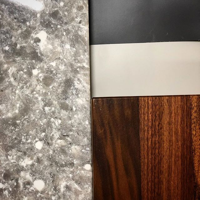 Upcoming kitchen material / color scheme! @trademark_custom_builders @cross_and_lincoln #customhomebuilder #homebuilder #builder #remodel #renovation #kitchenremodel #newkitchen #cabinetshop #customcabinets #kitchencabinets #countertops #butcherblock #solidsurface #kitchendesign #cabinetdesign