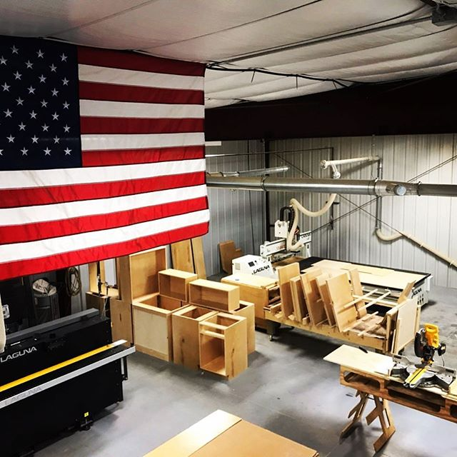 Ready for the next project in the shop @trademark_custom_builders @cross_and_lincoln #customhomebuilder #homebuilder #builder #buildersofinsta #remodel #renovation #cabinetshop #customcabinets #cabinets #kitchencabinets #kitchendesign #vanities #builtins #america #americanflag