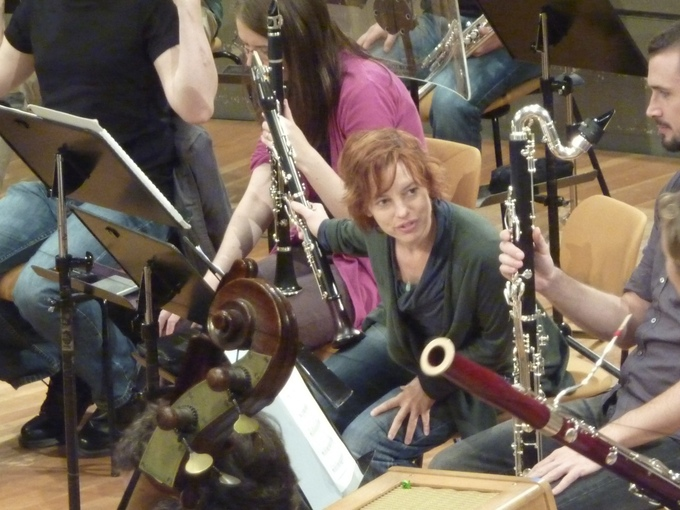 rehearsal with Musik Fabrik in the Berlin Philharmonie