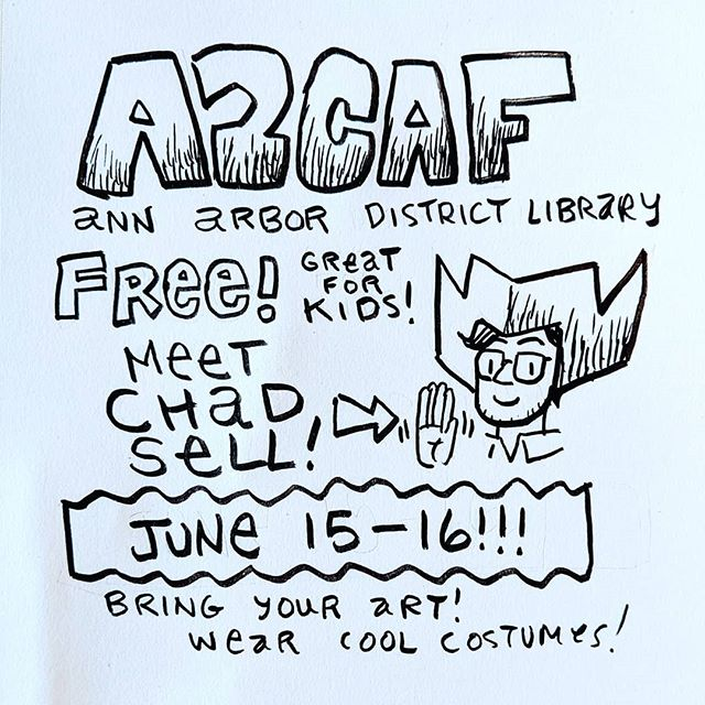 The Cardboard Kingdom's Chad Sell will be in Ann Arbor this weekend for A2CAF, a wonderful and free all-ages comics festival featuring superstars like @goraina and @juddwinick! Bring your costumes! Bring your own comics!! Saturday and Sunday at the Ann Arbor District Library! @chadsell01