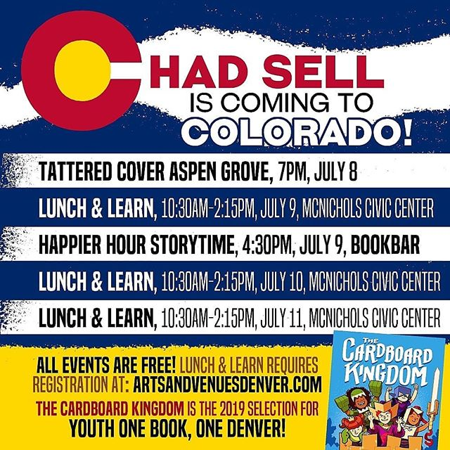 Cardboard Kingdom illlustrator and co-creator @chadsell01 will be doing a whole week of events in Denver as part of the @denverarts Youth One Book, One Denver program! The Lunch & Learns are free with registration, and they will involve CK activities, an artist talk, signing, free lunch, and a school play of Cardboard Kingdom!!!! 🥰