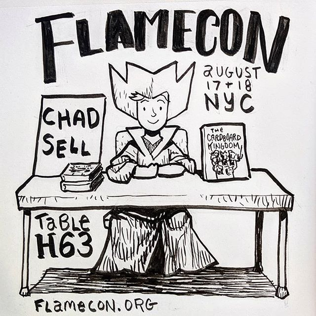 Cardboard Kingdom co-creator @chadsell01 will be at FlameCon in NYC this weekend, August 17 & 18! Find him at table H63! ♥️📦🏰