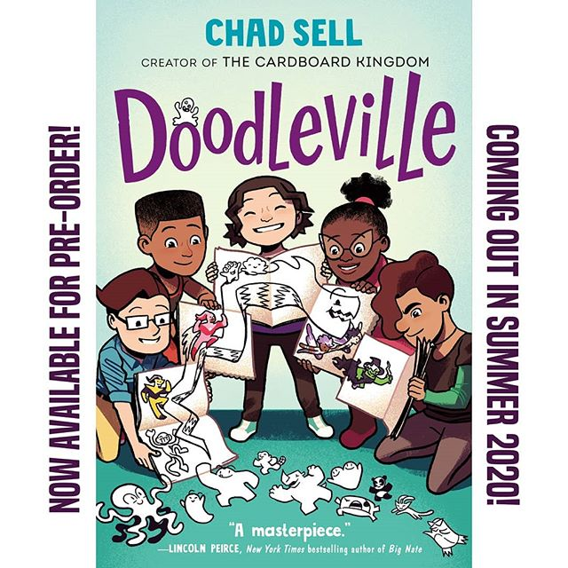 Cardboard Kingdom co-creator @chadsell01's next graphic novel is DOODLEVILLE! You can find out more about the book and pre-order it now through the link in Chad's bio!