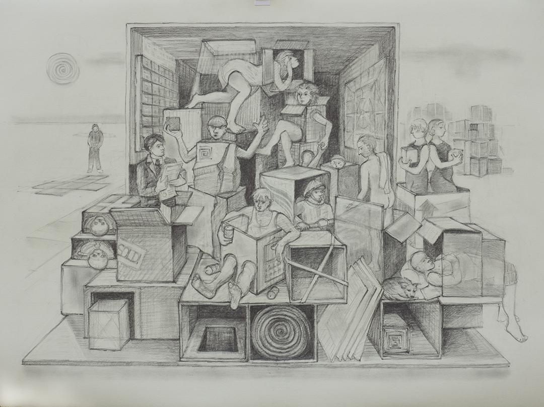 Everyone In a Box                     Graphite drawing by  Kim Schrag                       www.kimschrag.com