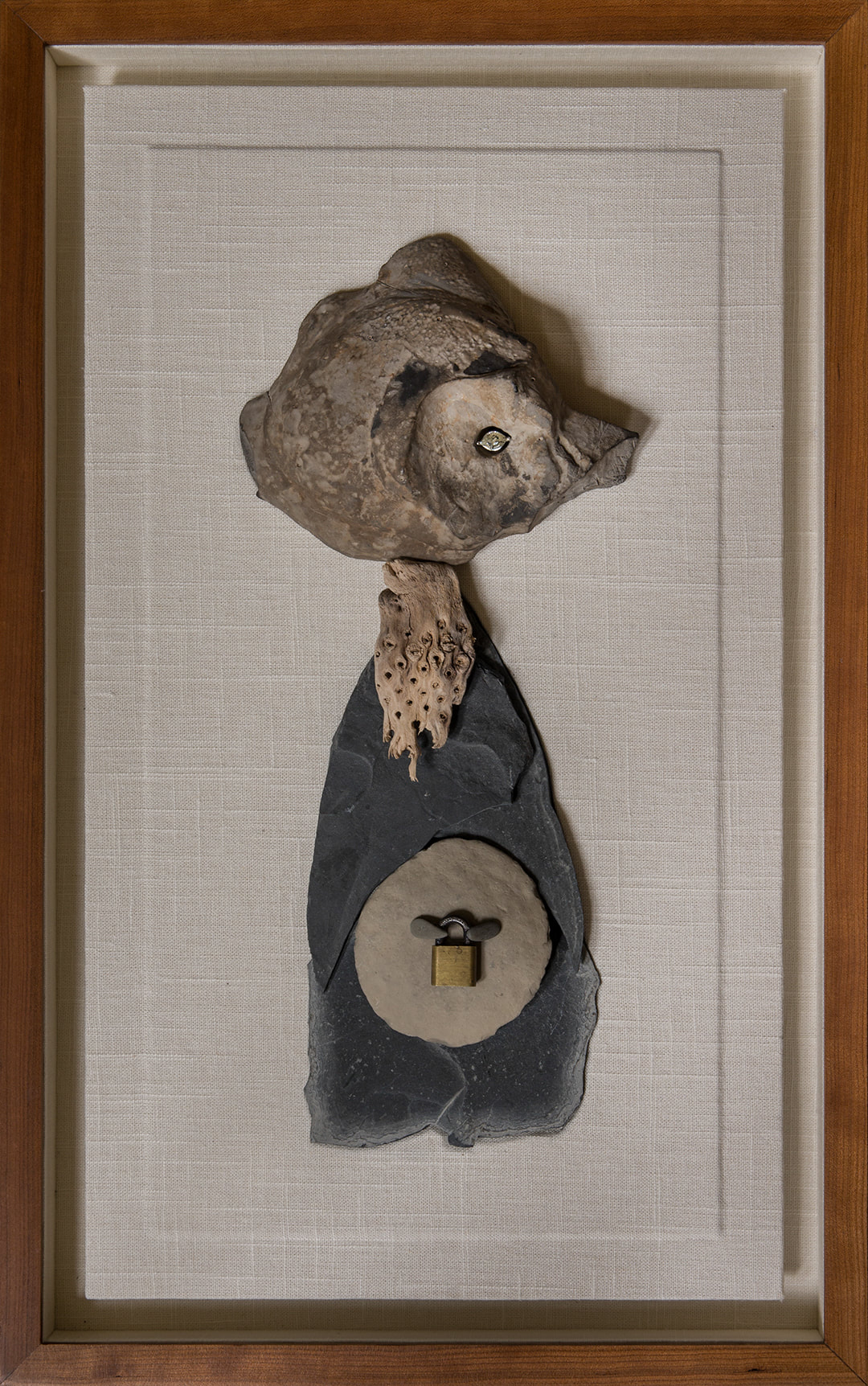 """FANCY MOM  Stone, driftwood, metal, Brazilian topaz, and linen in a lined cherry shadow box  (24 3/8"""" x 15 1/4"""")"""