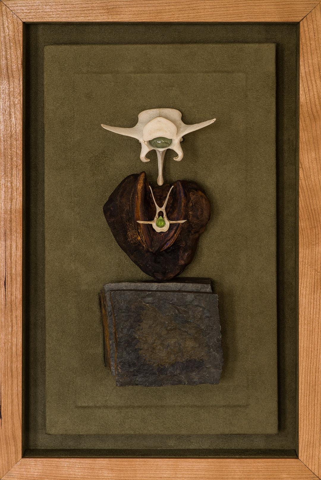 "WOODSTONE BONE   Stone, wood, prehnite, and Arizona peridot in a lined cherry shadow box  (16 3/4"" x 11"")"
